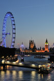 The London Eye and Westminster London UK Royalty Free Stock Photography