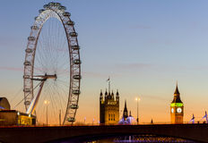 London Eye and Westminster at Sunset Stock Images