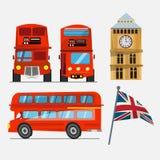 london för bussdäckaredouble red stora ben och Storbritannien som vinkar f Royaltyfri Foto