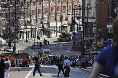 london för efterdyningclaphamföreningspunkt tumultar Arkivbilder