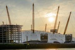 """London Förenade kungariket †""""Augusti 17: Horisontalsikt av O2en ar Royaltyfri Foto"""