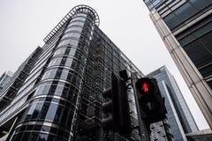 London Förenade kungariket - April 06 2017: Canary Wharf är ett av de två viktiga affärsområdena i London _ Arkivbild