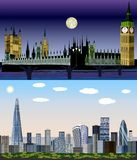 London Förenade kungariket, Europa - dag till nattvektorsatsen royaltyfri illustrationer