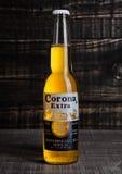 LONDON FÖRENADE KUNGARIKET - Oktober 23, 2016: Flaska av Corona Extra Beer på träbakgrund Krans som produceras av Grupo Modelo me Fotografering för Bildbyråer