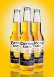 LONDON FÖRENADE KUNGARIKET - Oktober 23, 2016: Flaskor av Corona Extra Beer på gul bakgrund Krans som produceras av Grupo Modelo  Royaltyfri Foto