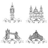 London famous buildings set. Hand drawing sketch collection of L Stock Images