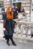 London Fashion Week at Somerset House. LONDON, UK- SEPTEMBER 14: Unidentified beautiful young woman poses for the cameras at Somerset House during London Fashion Stock Photo