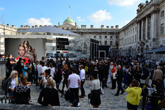 London Fashion Week 2014. London, Somerset House - September 12, 2014: London Fashion Week at Somerset House. Courtyard on the opening day royalty free stock images