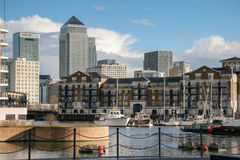 LONDON - FEBRUARY 12 : Canary Wharf and other buildings in Dockl Stock Photography