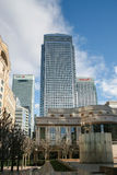 LONDON - FEBRUARY 12 : Canary Wharf and other buildings in Dockl Royalty Free Stock Images