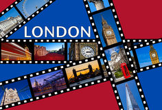 LONDON Film Strips. Film strips depicting images of famous London landmarks Royalty Free Stock Photography