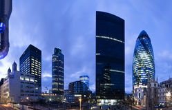 London financial district. Evening time shot of London`s financial district. Including Tower 42 and Gherkin Stock Photo