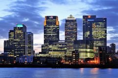 London financial district at dusk royalty free stock photos