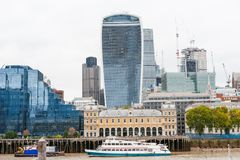London financial district modern buildings and skyscraper near Thames river Stock Images