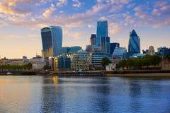 London financial district skyline sunset Stock Photo