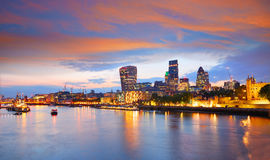 London financial district skyline sunset Royalty Free Stock Photography
