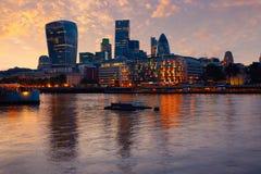 London financial district skyline sunset Stock Photography