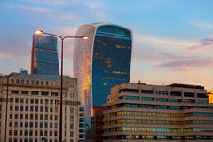 London financial district skyline sunset Royalty Free Stock Images