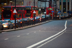 London financial district traffic at sunset Stock Photos