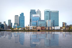 London, financial hub Canary Wharf view and river Thames Royalty Free Stock Photography