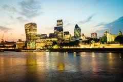London finansiellt område Arkivbild