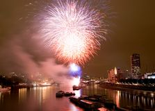 London Fireworks. Fireworks at the Thames Festival in London royalty free stock image