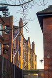 London flats in the twilight. A block of traditional luxury flats in london during the sunset Royalty Free Stock Images