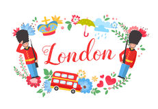 London floral wreath postcard with sightseeing elements Royalty Free Stock Images