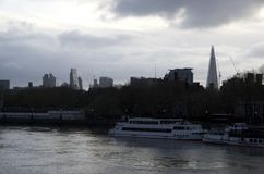 Cloudy morning in south bank London. London is really a foggy and cloudy city. Picture was taking at the beginning of April of 2017 royalty free stock photo