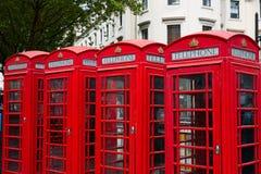 London gamla röda telefonaskar Royaltyfri Bild