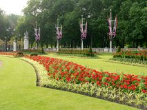 London Gardens. Flower bed in The Mall royalty free stock image