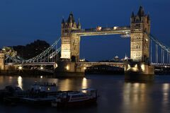 London Gate Bridge at Night Stock Images