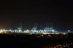 London Gateway at Night. Night lights. The London Gateway Port at night. The port is in Coryton, Essex, UK stock photos