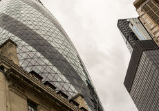 London Gherkin Building and Surrounding Offices Stock Photo