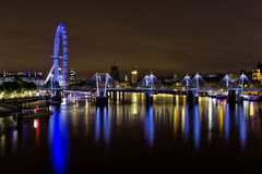 London Golden Jubilee Bridge at night Stock Images