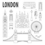 London gränsmärken, designbeståndsdelar i modern linjär stil Royaltyfri Fotografi
