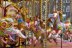 London, Great Britain. April 12, 2019. Greenwich. Carousel next to the maritime museum. stock image