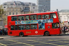 London double decker red bus. LONDON, GREAT BRITAIN, April 21, 2018 : London double decker red bus in Trafalgar Square Royalty Free Stock Photos
