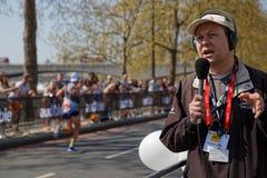 Radio speaker at the London Marathon Royalty Free Stock Photo