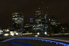 London Great Britain. Beautiful photo of the city at night.Nice buildings with lights. Lovely architecture in England. Colorful details picture Royalty Free Stock Image