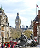 LONDON, GREAT BRITAIN: Big Ben and lion on Trafalgar Square Royalty Free Stock Images