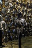 The Armory Chamber of Henry VIII in the Tower of London. LONDON, GREAT BRITAIN - MAY 16, 2014: This is a royal knight`s armor in the Armory Chamber of Henry VIII Stock Photo