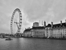 London / Great Britain - November 01 2016: Panoramic view on the River Thames and the London Eye royalty free stock photography