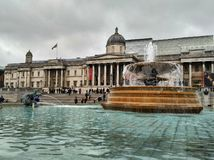 London / Great Britain - November 01 2016: View on the National Gallery across the fountain on the Trafalgar square royalty free stock photos