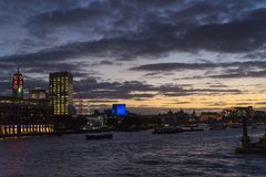 London Great Britain at night with colorful dusk evening. London Great Britain, October 12 2017, Beautiful night scene of the city at dusk, Nice, colorful autumn Royalty Free Stock Images