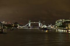 River Thames and Tower Bridge at night in London Great Britain Royalty Free Stock Image