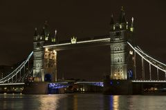 Tower Bridge at night in London United Kingdom Royalty Free Stock Photos