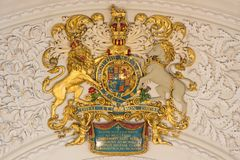 LONDON, GREAT BRITAIN - SEPTEMBER 16, 2017: The relief of England royal arms in church St Clement Danes Stock Photo