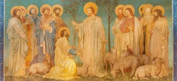 Free LONDON, GREAT BRITAIN - SEPTEMBER 19, 2017: The Fresco Of Scene 'Feed My Sheep' - Jesus Give The Power To St. Peter Royalty Free Stock Image - 104626396