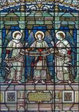 LONDON, GREAT BRITAIN - SEPTEMBER 15, 2017: The angels with the inscription on the satined glass of St James`s Church. Royalty Free Stock Photography